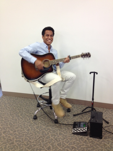Marino, our library student worker, provides music at the Learning Resources Open House in October. Thanks, Marino!